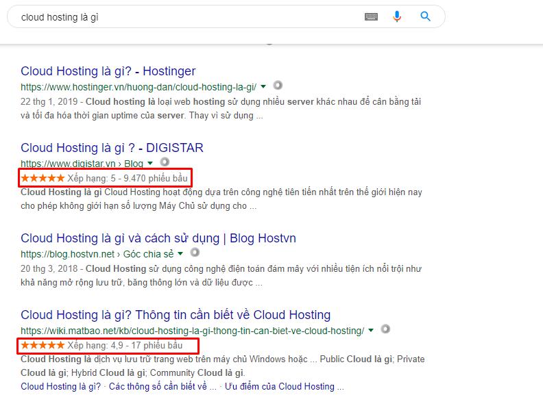 Google Rich Snippets hiển thị trên kết quả tìm kiếm