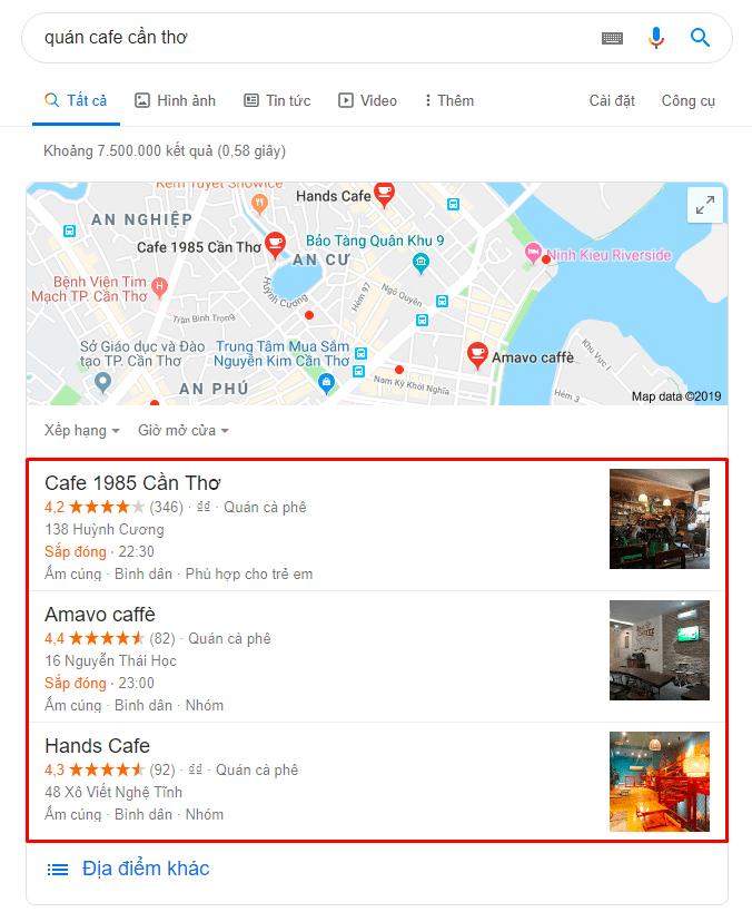 Google Snack Pack với từ khóa quán cafe Cần Thơ