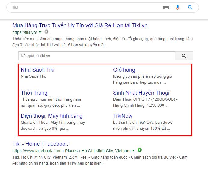 Hiển thị Sitelinks