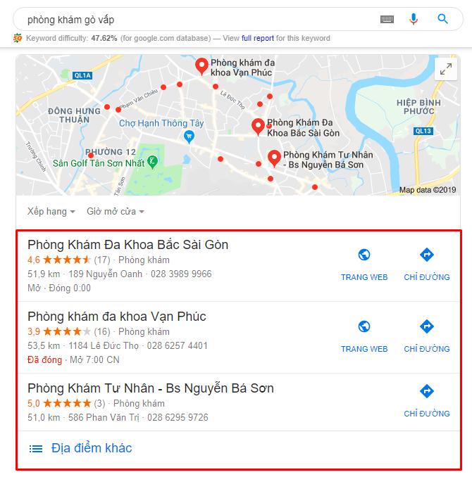 """Kết quả của SEO Local khi tìm từ khóa """"phòng khám Gò Vấp"""""""