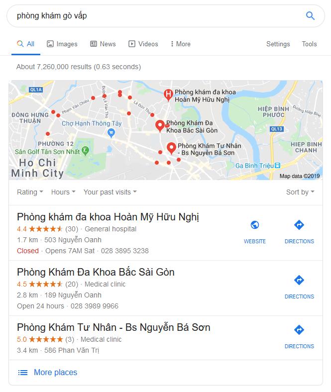 SEO local, Xác minh doanh nghiệp google phòng khám gò vấp