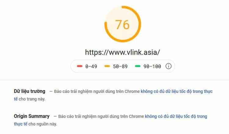 Kết quả kiểm tra tốc độ trang web