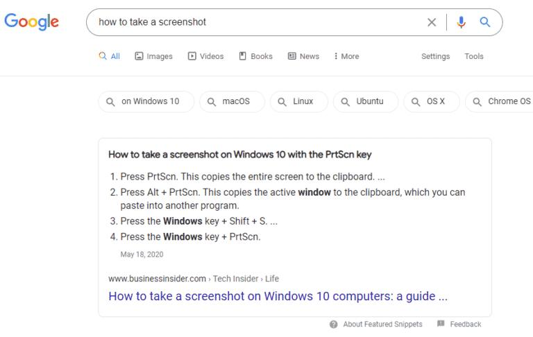 Ví dụ về các featured snippet xuất hiện trên kết quả organic search