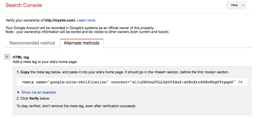Xác nhận code Google Search Console