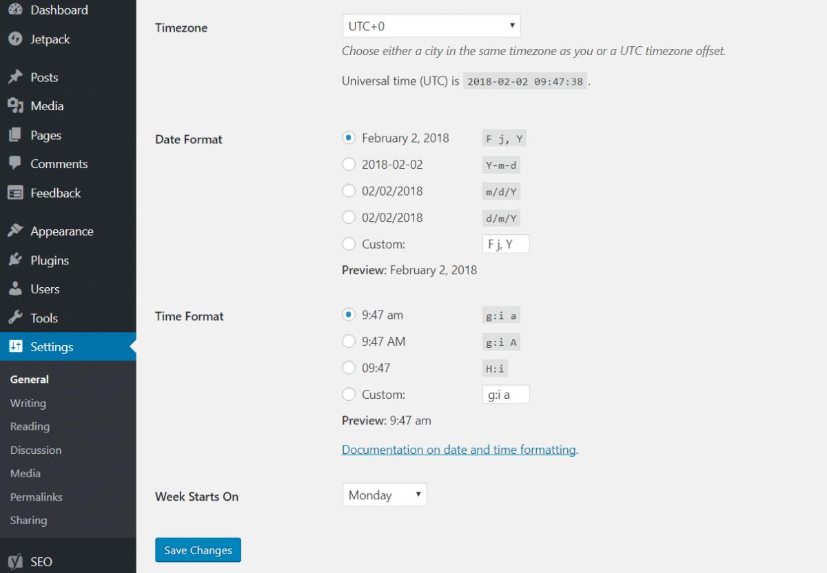 Cài đặt múi giờ cho website WordPress
