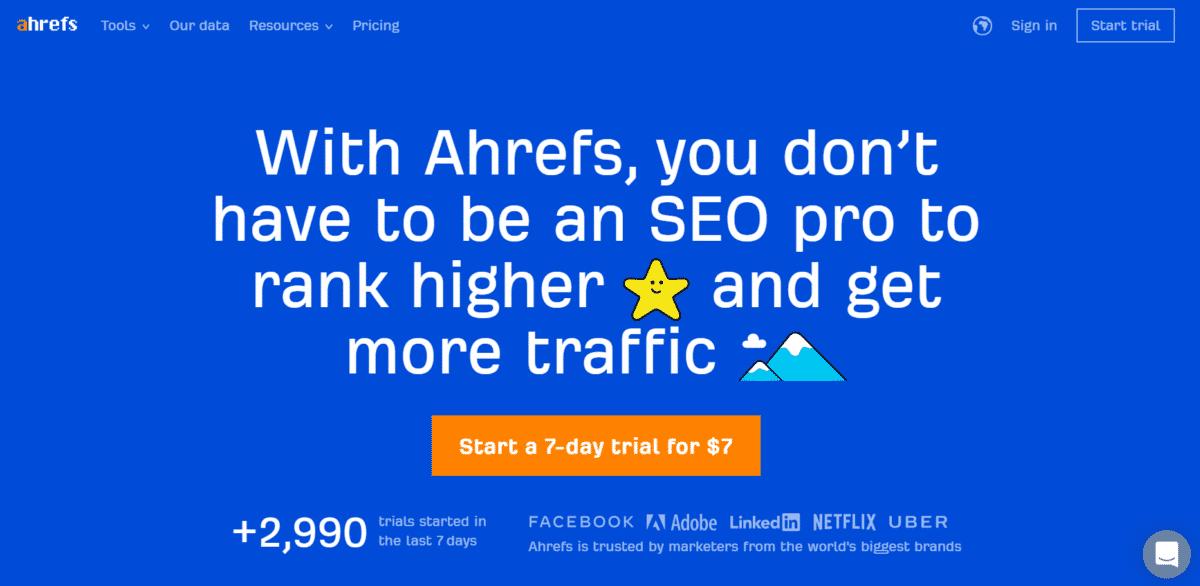 Giao diện trang chủ của công cụ phân tích Website Ahrefs