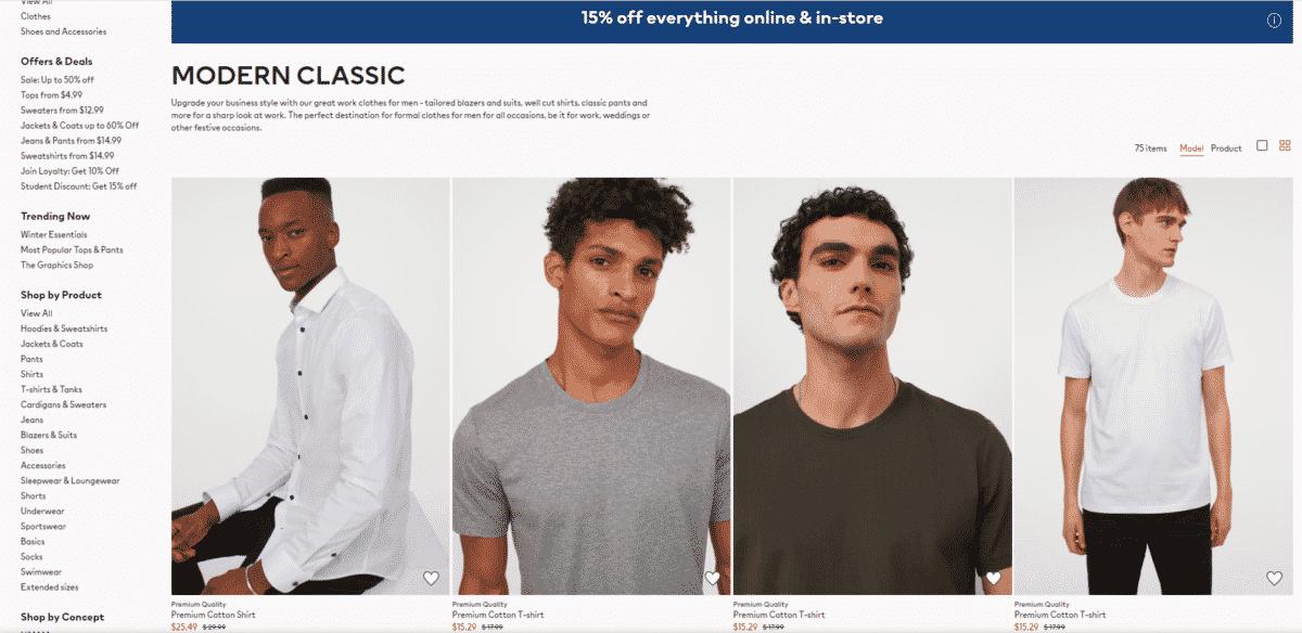 Giao diện trang danh mục sản phẩm của H&M đã được tối ưu hóa