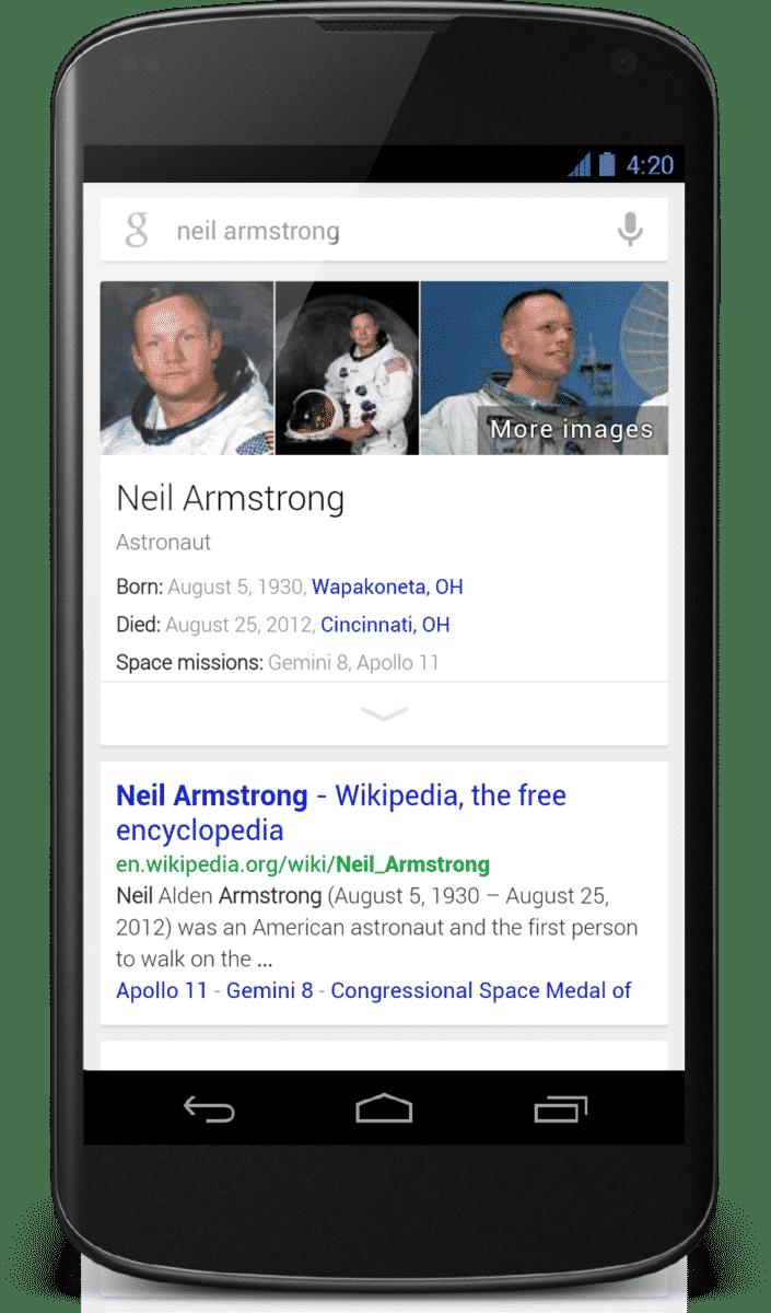 Ngày nay Google đã tối ưu hóa hiển thị các sơ đồ tri thức trên di động