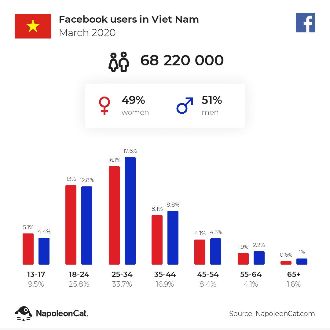 Thống kê lượng người dùng Facebook tại Việt Nam năm 2020 (Theo NapoleonCat.com)