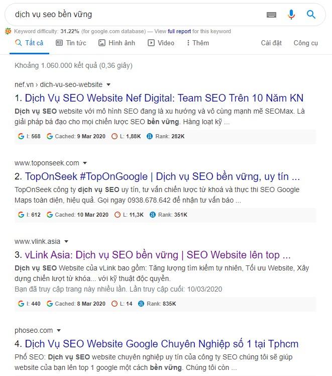 Công cụ SEO - Danh sách bài viết nổi bật top 10 Google cho từ khóa dịch vụ seo