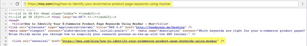 Liên kết rel = canonical tự tham chiếu: URL được chỉ định trong thẻ rel = canonical giống với URL trang hiện tại.