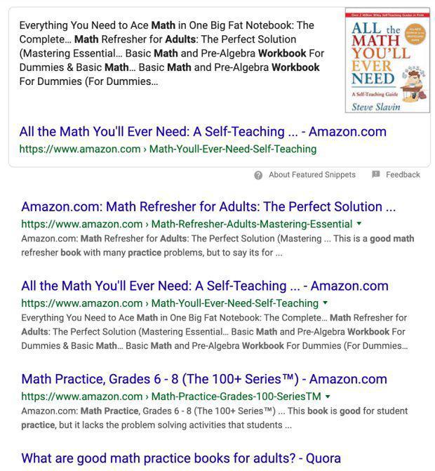 """Các kết quả tìm kiếm hiện tại đối với truy vấn """"math practice books for adults"""" (Nguồn ảnh: Internet)"""