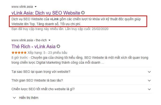 Một kết quả SEO Website thành công hiển thị nổi bật trên Google